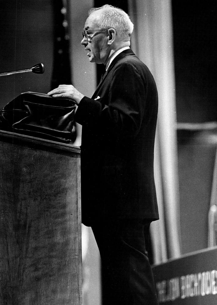 SEP 19 1966, 9-20-1966; Robert Welch, head of the John Birch Society, Monday night at Phipps Auditor