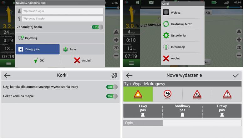 Menu programu Navitel Navigator Android