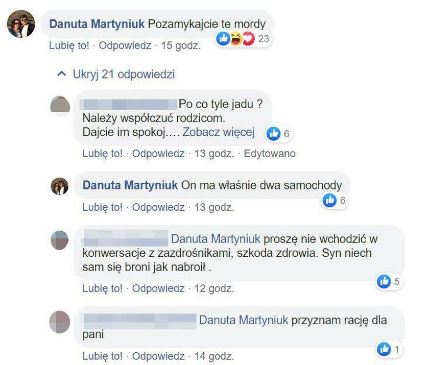 Danuta Martyniuk wstawiła się za synem w internetowej dyskusji