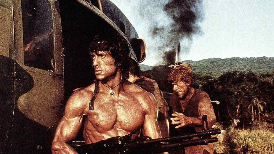 "Sylvester Stallone w filmie ""Rambo II"""