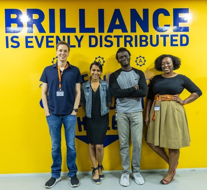 Nat Friedman (CEO, GitHub), Naytri Shroff (Chief of Staff to the CEO), and Omoju Miller (Machine Learning Engineer at GitHub) visit Andela Nigeria [Photo by Rotimi Okungbaye, Andela]