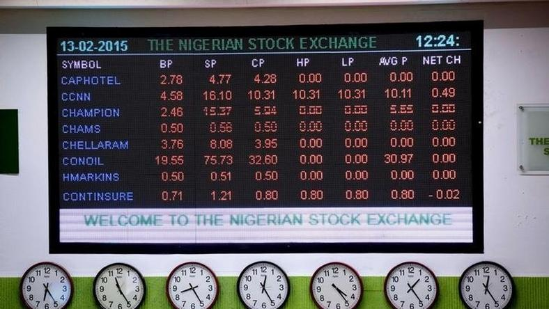 A board showing stocks displayed on the wall at the Nigerian Stock Exchange in Lagos in a file photo. REUTERS/Joe Penney