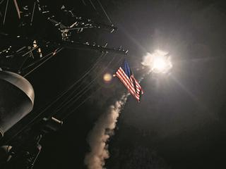 U.S. Navy guided-missile destroyer USS Porter (DDG 78) conducts strike operations while in the Medit