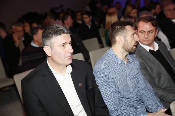 Delegacija KK Partizan na svečanosti - direktor crno-belih Mlađan Šilobad, sportski direktor Nikola Lončar i predsednik kluba Ostoja Mijailović