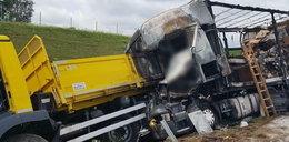Rozpędzony tir wjechał w ciężarówkę. Dwie osoby spłonęły