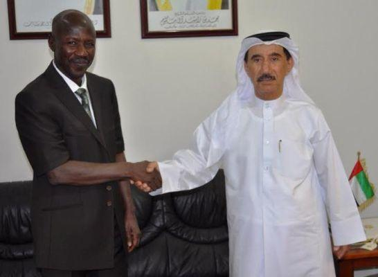 EFCC boss, Ibrahim Magu and the UAE Ambassador to Nigeria, Mahmud Muhammad Al-Mahmud, at the diplomat's Abuja office on February 3, 2016.