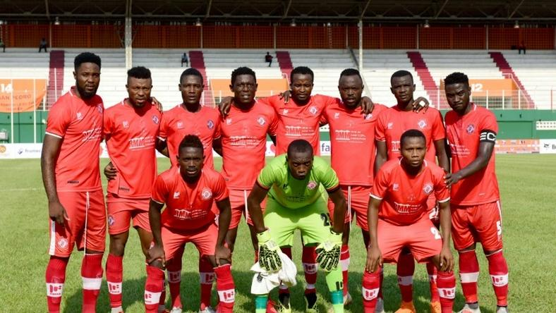The Nkana FC of Zambia team pose before drawing away to San Pedro FC of the Ivory Coast and securing a place in the group phase of the 2018/2019 CAF Confederation Cup.