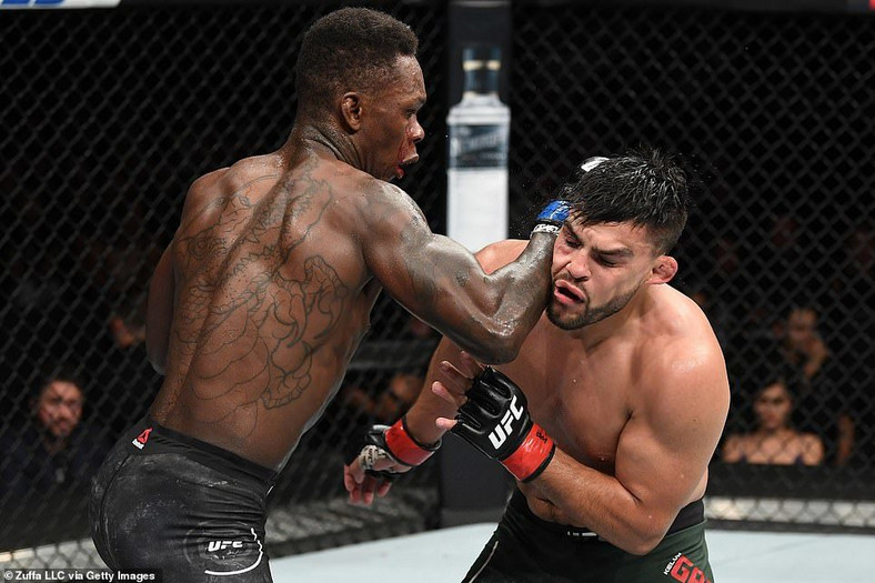 Israel Adesanya knocked out Kelvin Gastelum twice in the epic bout (Zuffa LLC via Getty Images)
