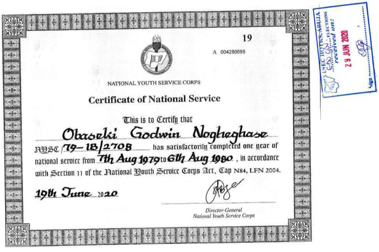 Godwin Obaseki's new NYSC certificate [INEC]