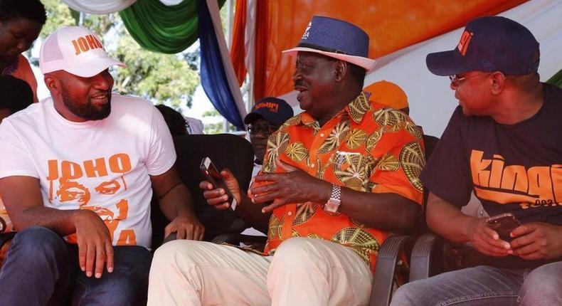 File image of Raila Odinga with Hassan Joho and Amason Kingi