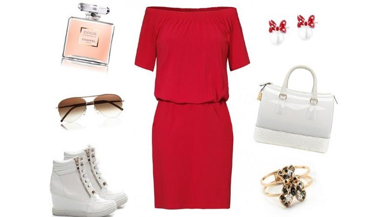 Czerwień to jeden z najmodniejszy kolorów tego lata. Nazywany nową czernią świetnie sprawdzi się w każdej sytuacji. Dzianinowa sukienka podkreślająca talię o długości midi w połączeniu z bielą prezentuje się idealnie. Jeśli chcesz stworzyć bardziej sportowy look w stylu blogerek modowych postaw na trampki na koturnie, gumową torebkę i delikatne dodatki. To sukienka ma grać główną rolę.