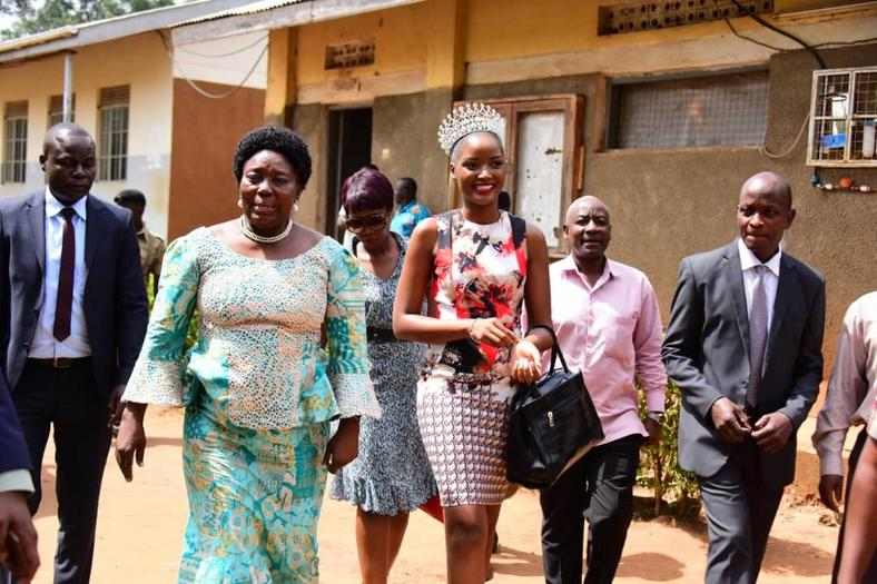 Miss Uganda Quiin Abenakyo is on a joint tour with Speaker of Parliament