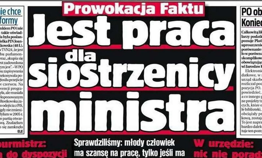 Jest dobra praca, ale tylko dla krewnych ministra