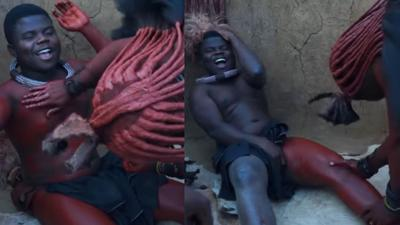 Ghanaian vlogger screams as lady attends to him at Himba village where visitors are given sex (video)