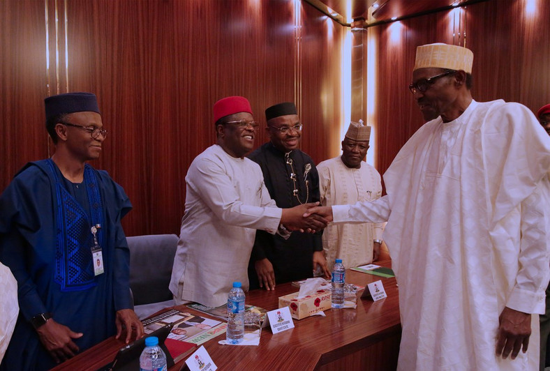 President Muhammadu Buhari in a meeting with a delegation of the Nigeria Governors' Forum (NGF) --Presidency