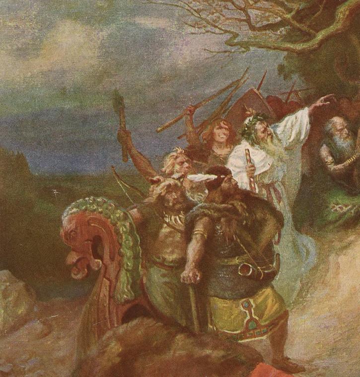 Fragment grafiki K. Górskiego przedstawiającej wydarzenia w Polsce w latach 30. XI stulecia