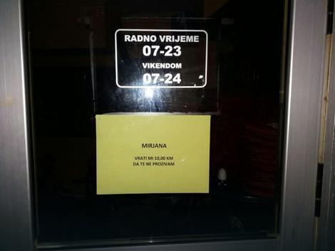 Opomena okačena na kafanska vrata
