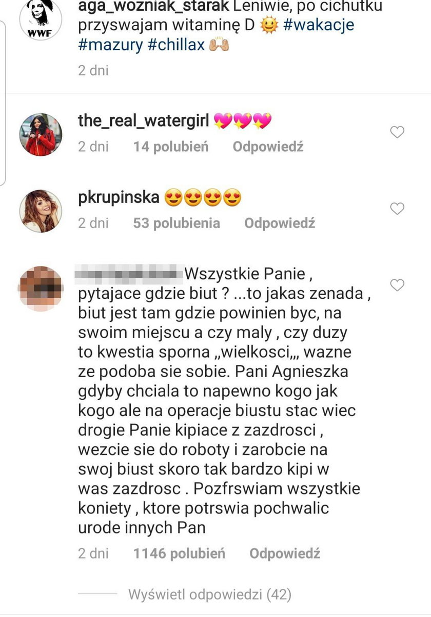 Komentarze na profilu Agnieszki Woźniak-Starak