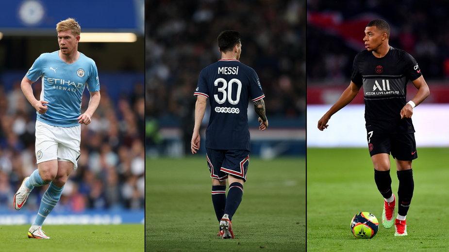 Kevin de Bruyne, Leo Messi, Kylian Mbappe