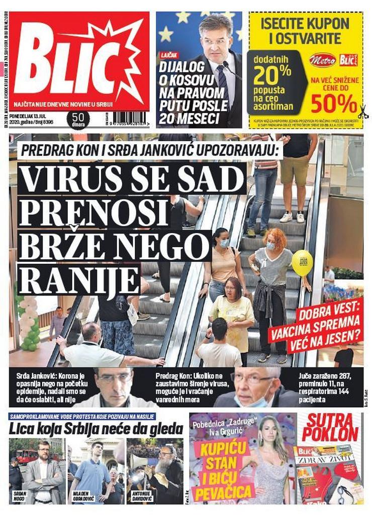 Blic, naslovna za 13.7.2020.