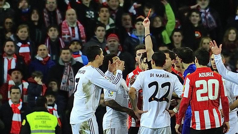 Cristiano Ronaldo ukarany czerwoną kartką
