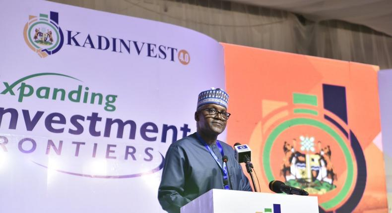 Aliko Dangote whlle delivery keynote address at the 2019 edition of #KADinvest 4.0