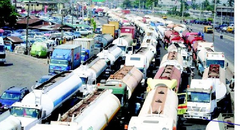 A scene showing gridlock on popular Apapa road leading to the nation's port