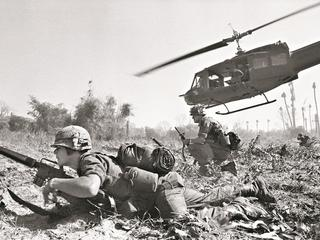 American Troopers Dropped from Helicopter During Vietnam War