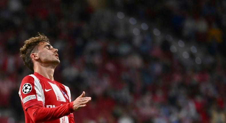 Antoine Griezmann was whistled by some of the Atletico Madrid fans during Wednesday's Champions League game against Porto. Creator: GABRIEL BOUYS