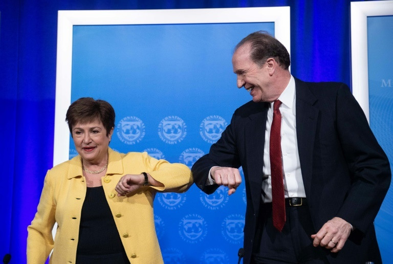 World Ban President David Malpass (R) doing the elbow greeting (AFP)