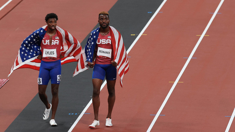 Noah Lyles i Kenneth Bednarek po finale biegu na 200 mężczyzn