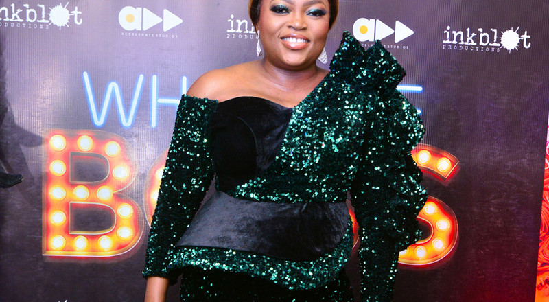 Who's The Boss: Funke Akindele looks like a boss in shimmering green as she joins other celebrities on the red carpet at the movie premiere