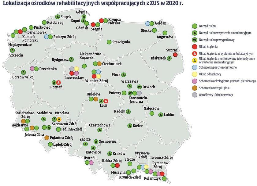 Mapa ośrodków współpracujących z ZUS w 2020 r.