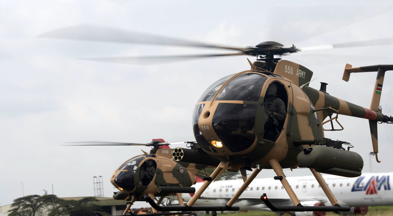 Kenya bolster its military arsenal  and buys 6 MD-530F helicopters from USA in the wake of increased Al-Shabab's terror attacks