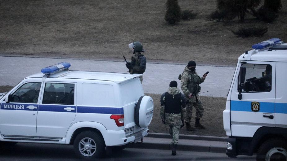 Białoruska milicja podczas Dnia Wolności, 25 marca 2021 r.