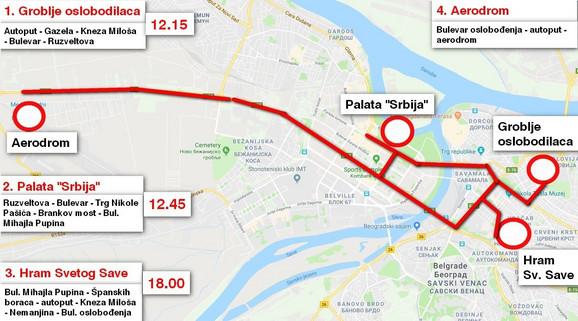 Trasa kojom će se kretati Putin