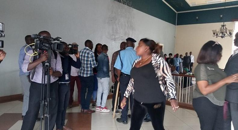 File image of commotion at City Hall. Chaos at City Hall as MCAs come to blows over Speaker Beatrice Elachi impeachment