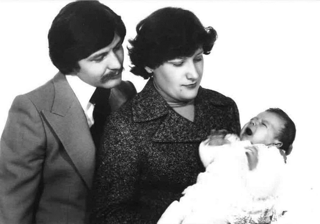 Pani Hanna z mężem i córką Agnieszką - tuż po chrzcie