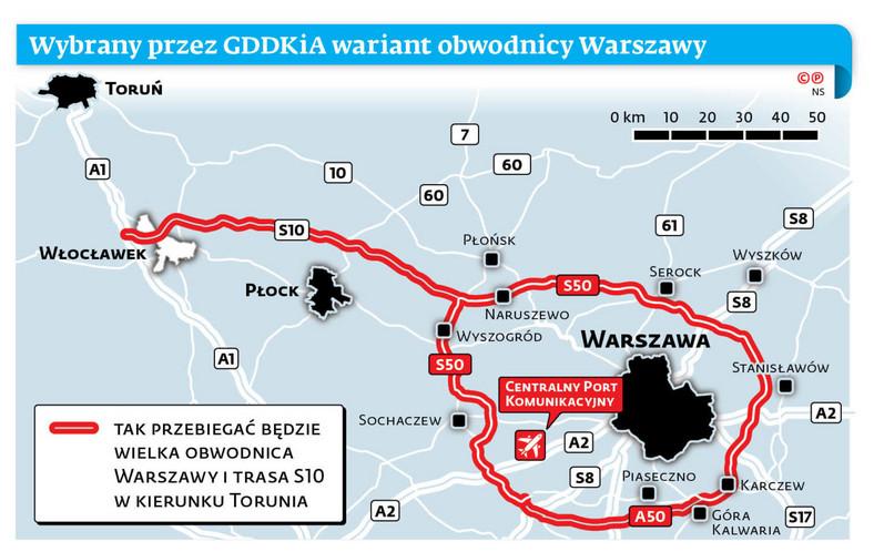 Wybrany przez GDDKiA wariant obwodnicy Warszawy