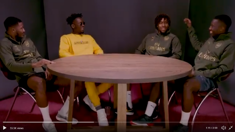 Ainsley Maitland-Niles, Mr Eazi, Alex Iwobi and Eddie Nketiah (Arsenal/Twitter)