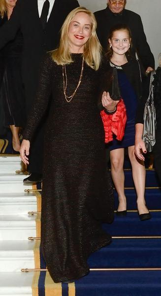 Sharon Stone w sukience BLANCHE z kolekcji AW 2013/14 bizuu na kolacji na Zamku Królewskim w Warszawie