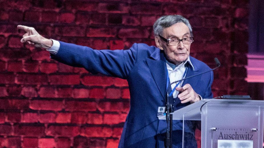 Marian Turski podczas obchodów 75. rocznicy wyzwolenia Auschwitz