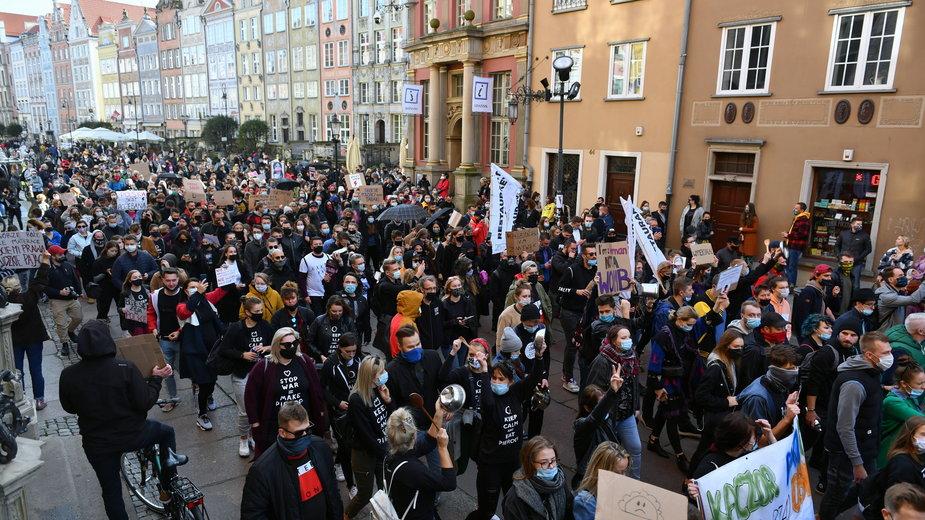 Protesty w Trójmieście, zdjęcie wykonane 25 października