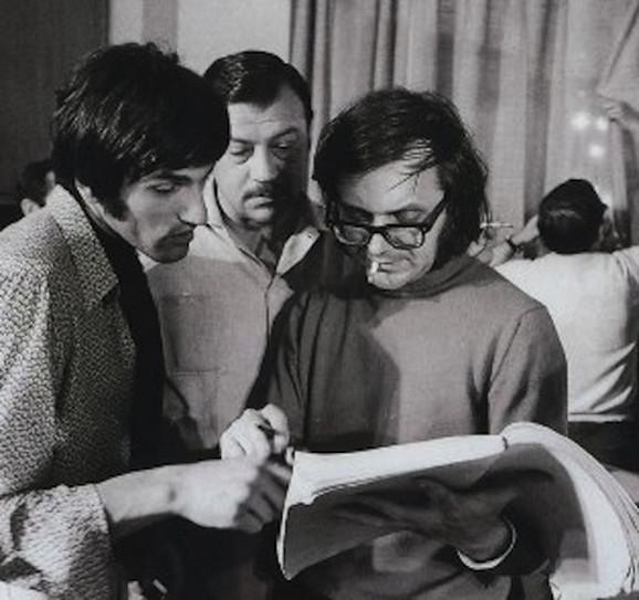 Dragan Nikolić, Aleksabndar Gavrić i Jovan Jovanović na snimanju filma