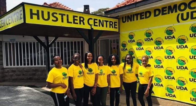 Campaigners at United Democratic Alliance's (UDA) offices