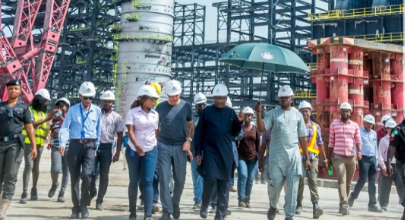 Aliko Dangote at the refinery site in Lagos (Twitter DangoteGroup)
