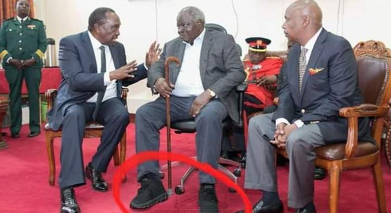 Mwai Kibaki's grandson, Sean Andrew mocks Miguna over attack on grandfather's shoes