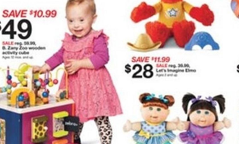 Dziecko z zespołem Downa reklamuje zabawki