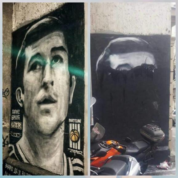 Mural sa likom Harisa Brkića pre i posle vandalskog čina