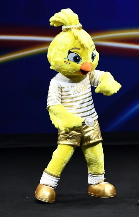 Ettie, the 2019 World Cup mascot, on stage at Saturday's draw